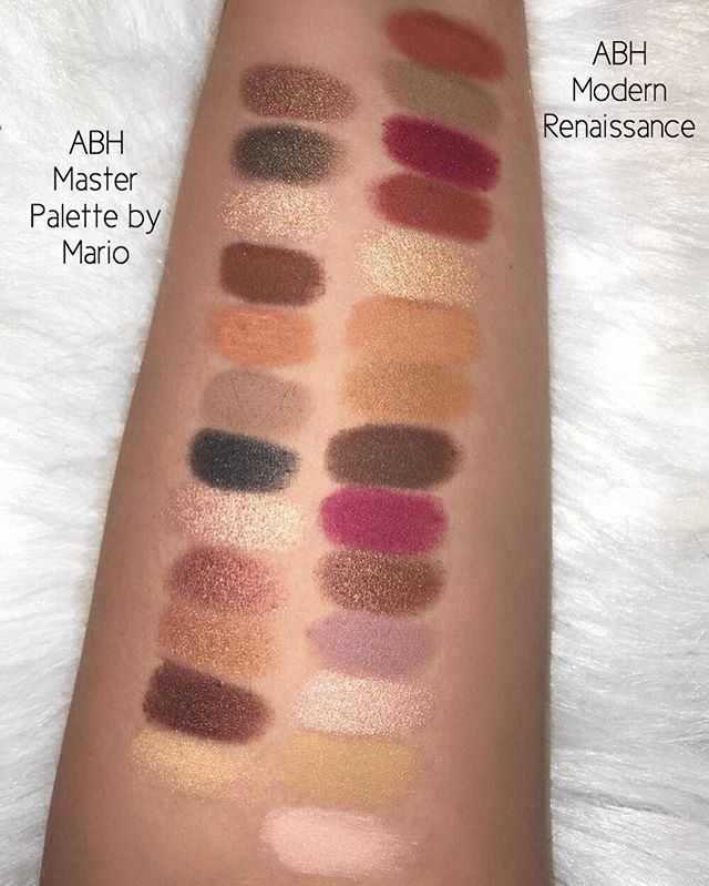 I have seen several comments saying the @anastasiabeverlyhills Master Palette by Mario is very similar to the ABH Modern Renaissance palette. I did some swatches for you and they are in fact very different (taken with flash)
