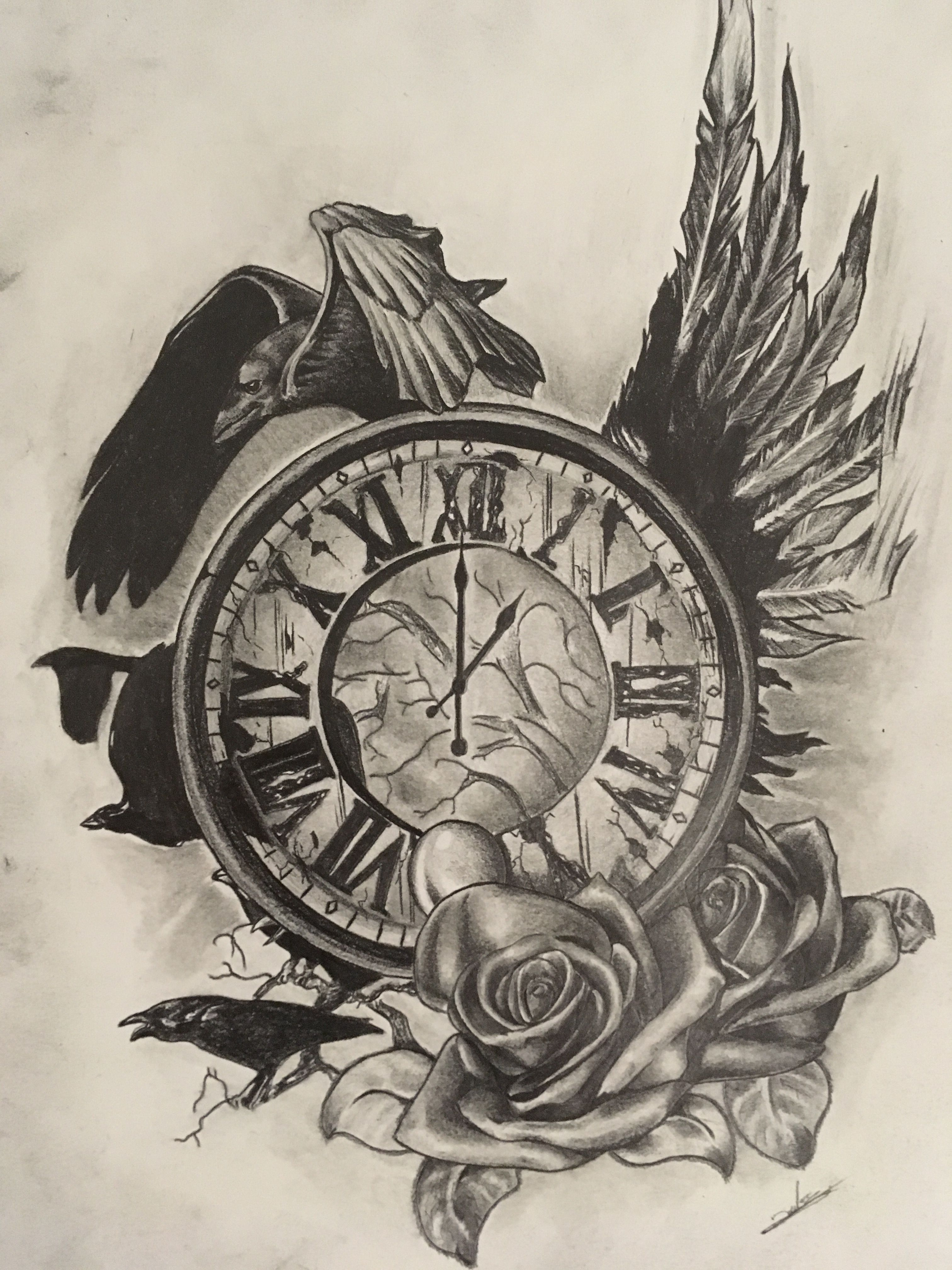 horloge corbeaux tatoo jesus tattoo raven tattoo et time clock tattoo. Black Bedroom Furniture Sets. Home Design Ideas