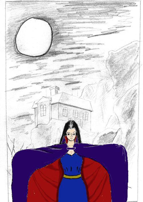 woman in cloak