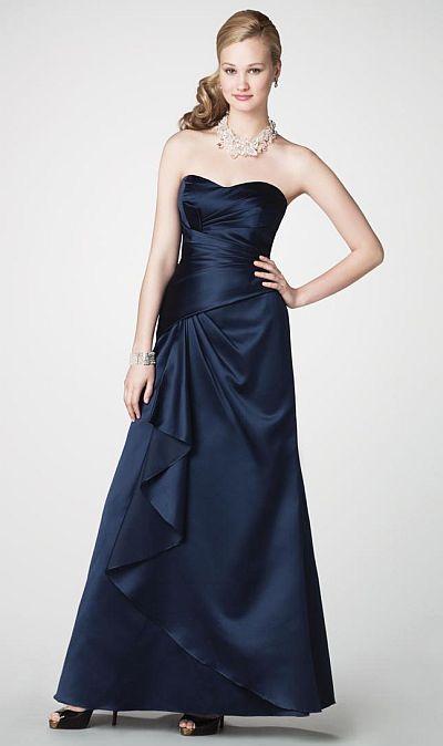 Alfred Angelo Long Satin Bridesmaid Dress With Ruffle 7203