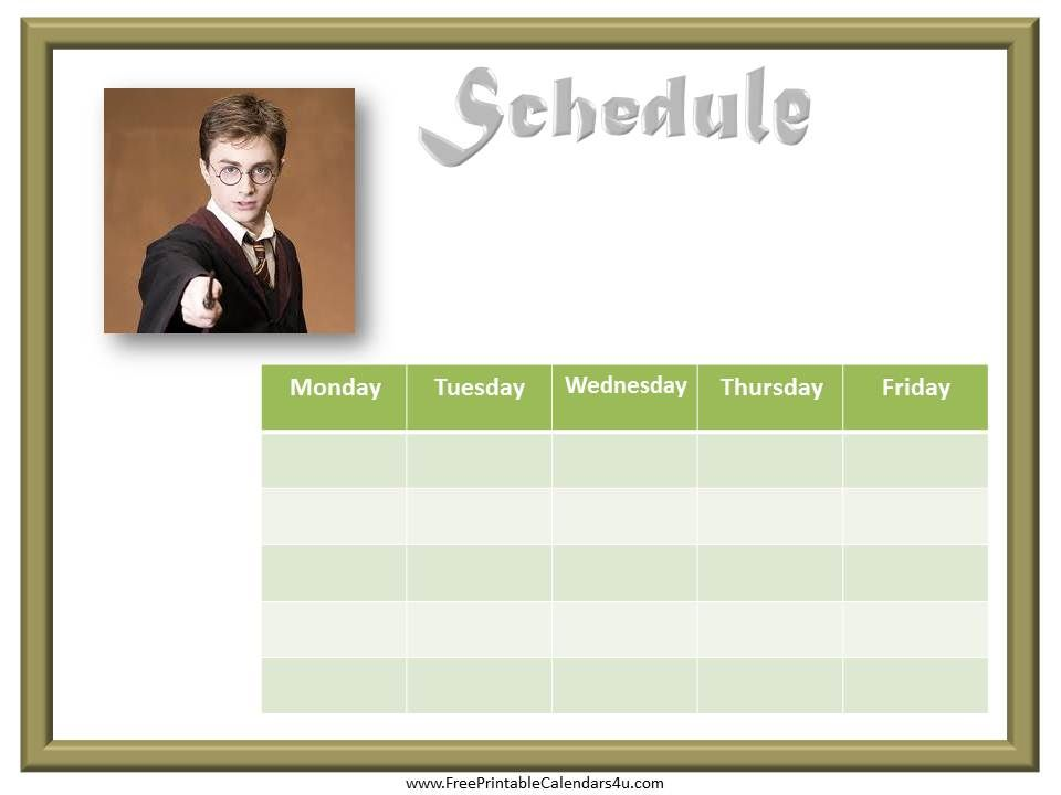 Harry Potter free printable weekly calendar template Weekly - free week calendar template