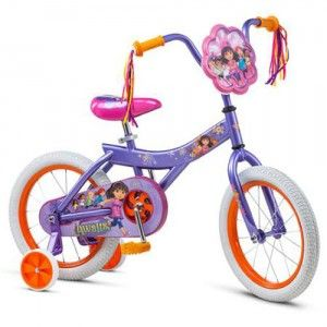 a25d560a2238 Features Dora graphics, bright colors, and streamers on the handlebars to  make riding fun for young Dora fans.