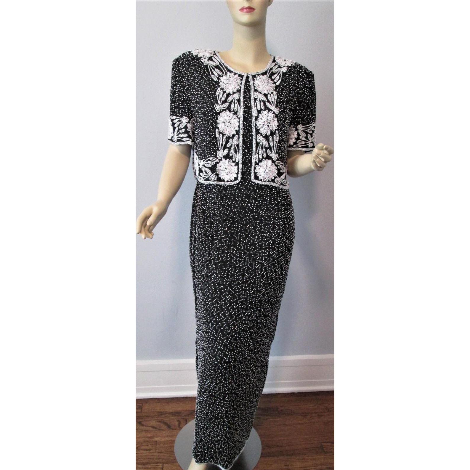 Silk beaded evening gown dress jacket vintage s black white