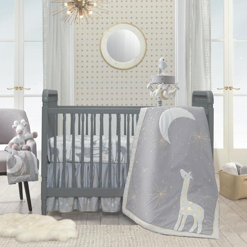 Lambs /& Ivy Signature Moonbeams Cotton Fitted Crib Sheet White Gray Gold