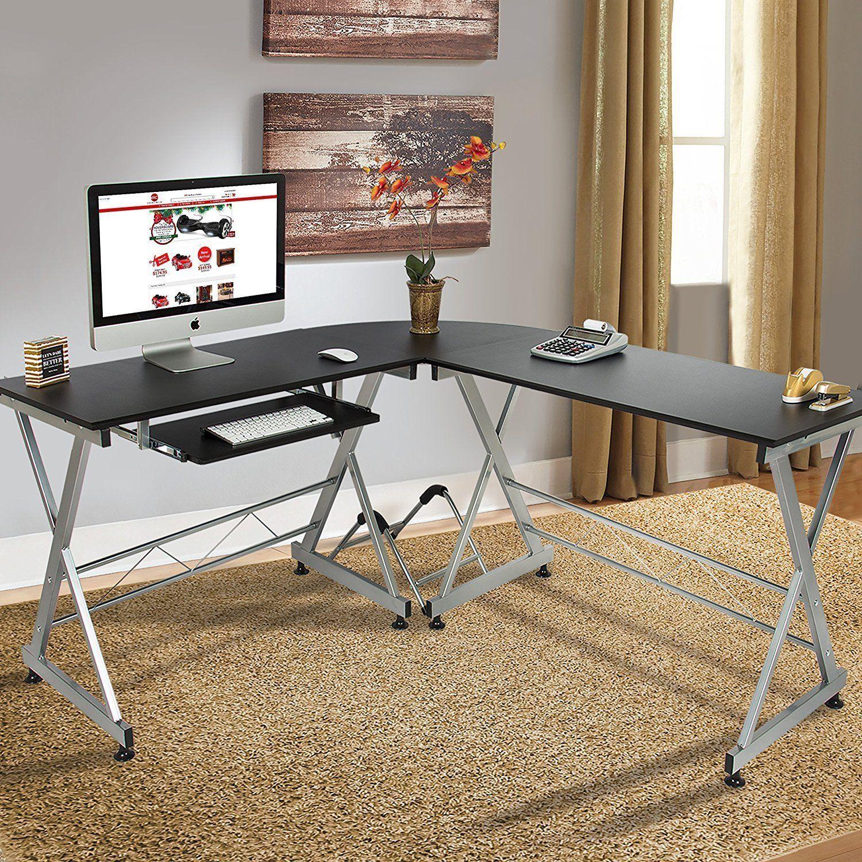 Modern computer desk home office furniture corner lshaped laptop