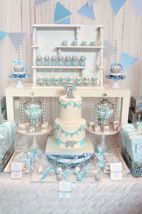 Charming Baby Blue And Gray Elephant Baby Shower Cake #babyshowercake #elephantcake