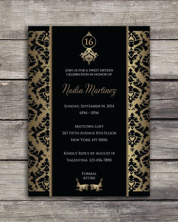 sweet 16 elegant birthday party invitation 5x7 black and gold
