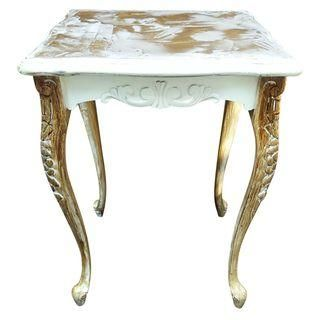 Distressed Queen Anne Table with Metallic Texture