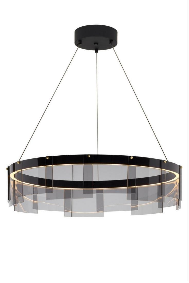 Stratos led chandelier from tech lighting overlapping panes of stratos led chandelier from tech lighting overlapping panes of gently curved glass smoke glass with a black finish create a shade which surrounds arubaitofo Image collections