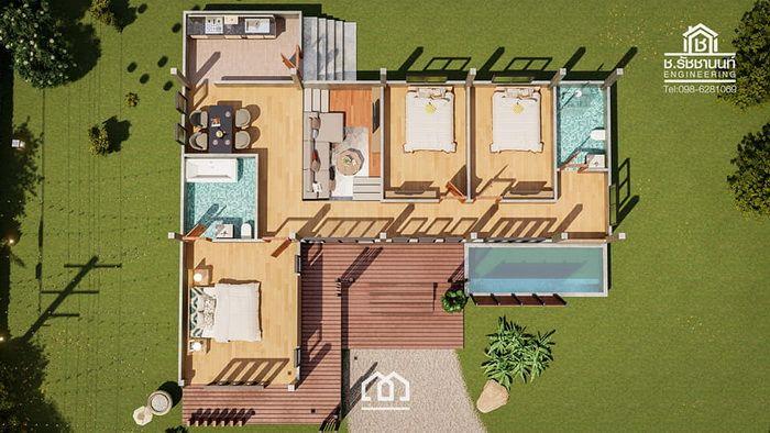 แบบบ านช นเด ยวสไตล โมเด ร นลอฟท ร ปทรงต วl L Shape พ นท 140 ตร ม งบก อสร าง1 6ล านบาท Ihome108 Rest House House Design Modern Bungalow House