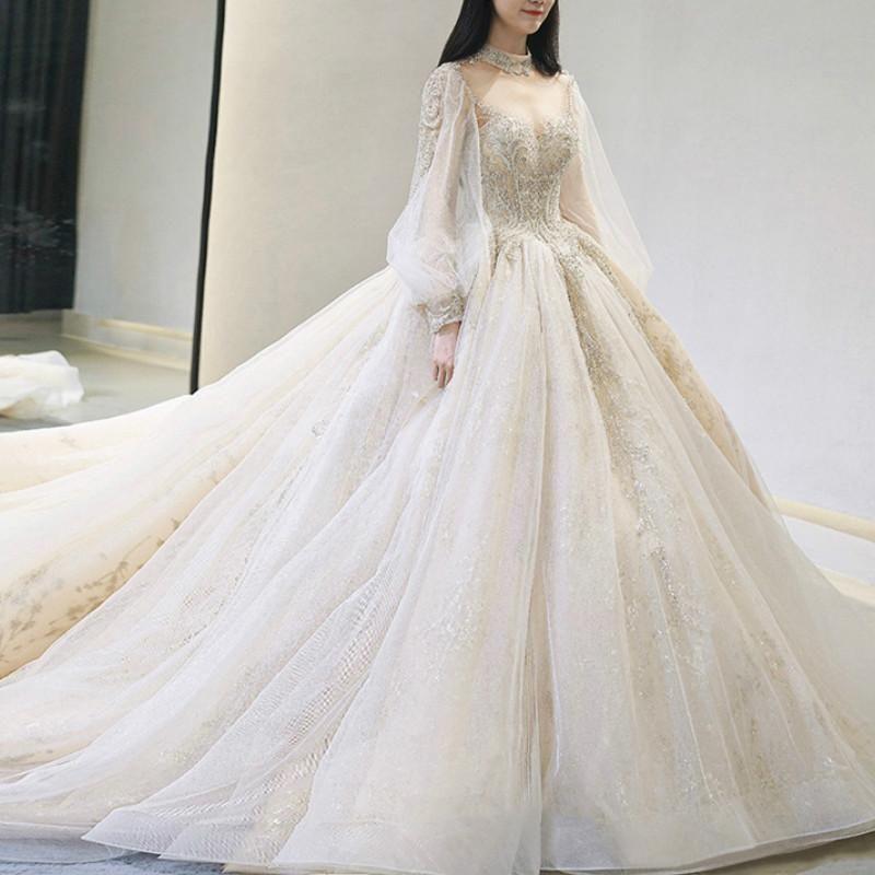 Sweet Paillette Maxi Wedding Dress SP14573