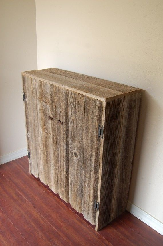 Beautiful Reclaimed Wood Cabinet Fenced Doors. LARGE Wooden Pantry... From Etsy
