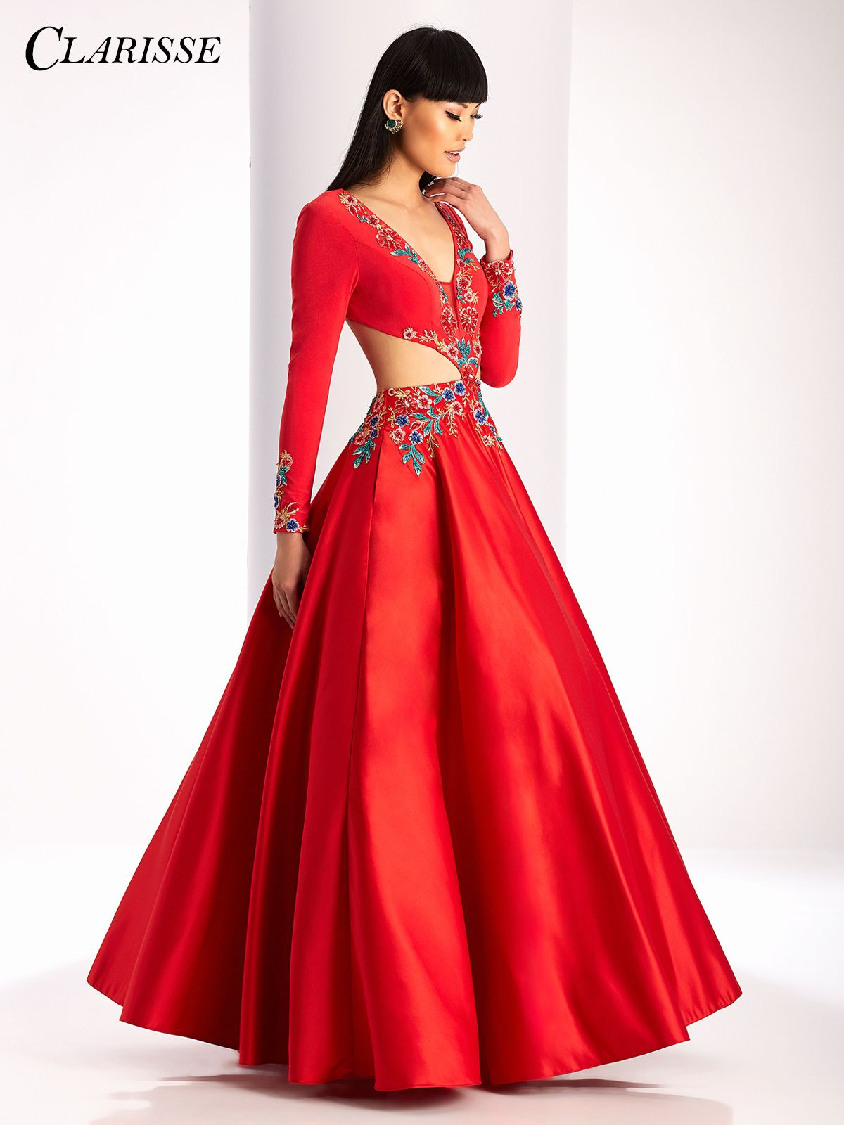 Clarisse Long Sleeve Prom Dress 3025 | Embroidered flowers, Ball ...