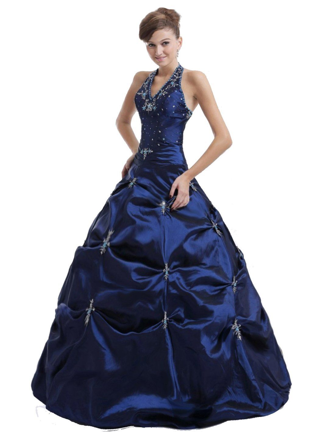 New faironly m navy halter formal prom dress clothes i like