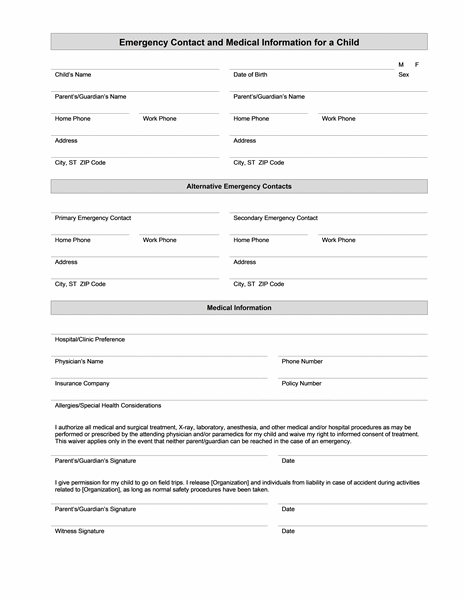 child s emergency contact and medical information templates