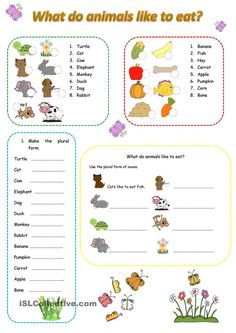 what do animals like to eat kindergarten english resources learn english ve animal worksheets. Black Bedroom Furniture Sets. Home Design Ideas