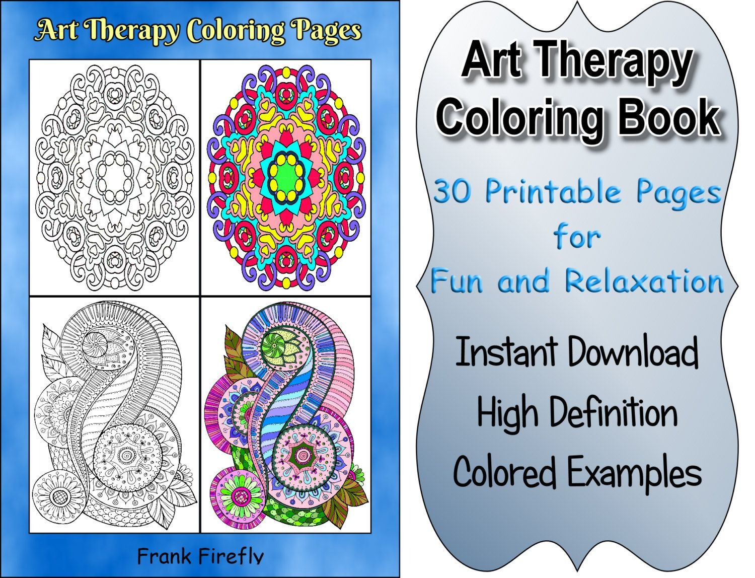 Art therapy coloring book and pencils - Art Therapy Coloring Book 30 Printable Coloring Pages Outlines Color Examples Instant Download Art Therapy Coloring Pages
