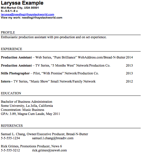 What Does A Production Assistant Resume Look Like  How To Work