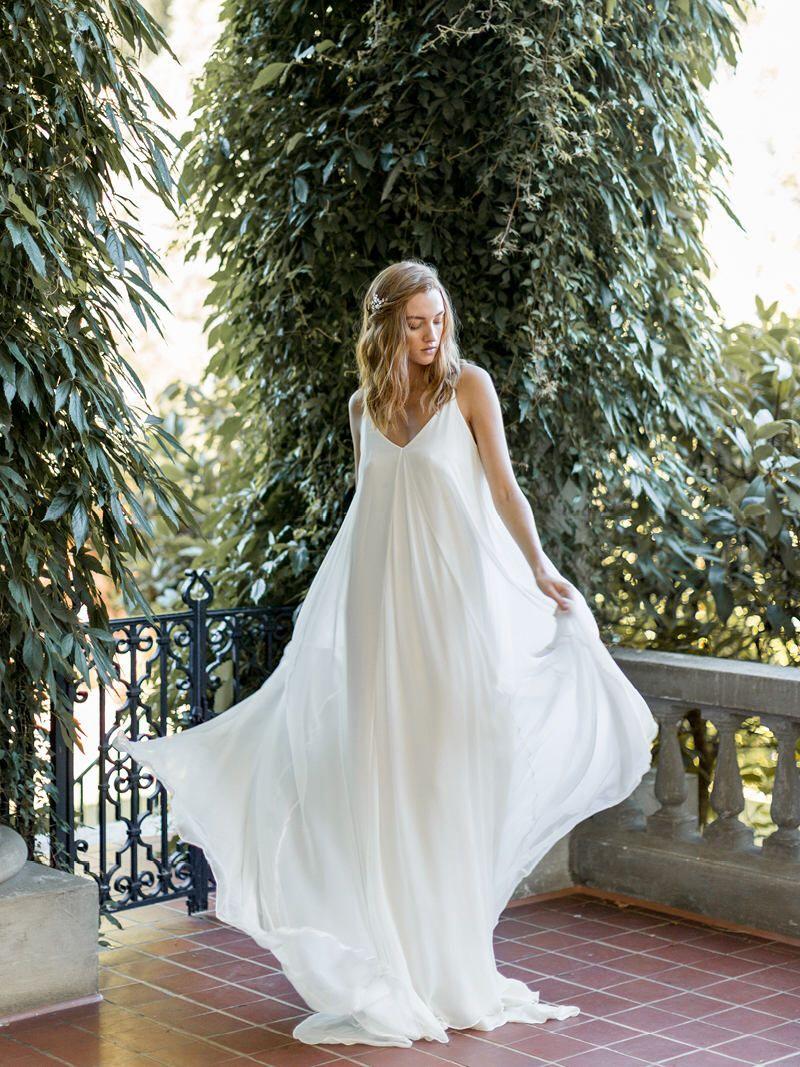 Flowy wedding dress with sleeves  Boho Flowy Bridal Gown  Ivory Open Back Wedding Dress  Silk