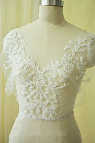Stunning Lily Lace Applique Embroidery Gown Motif Wedding Dress DIY Trim 1 PC