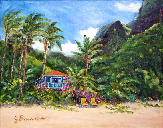 Tropical Landscapes Paintings Oil Painting Tropical Hawaii Landscape Sale By Jbeaudetstudios Landscape Paintings Oil Painting Landscape Original Oil Painting