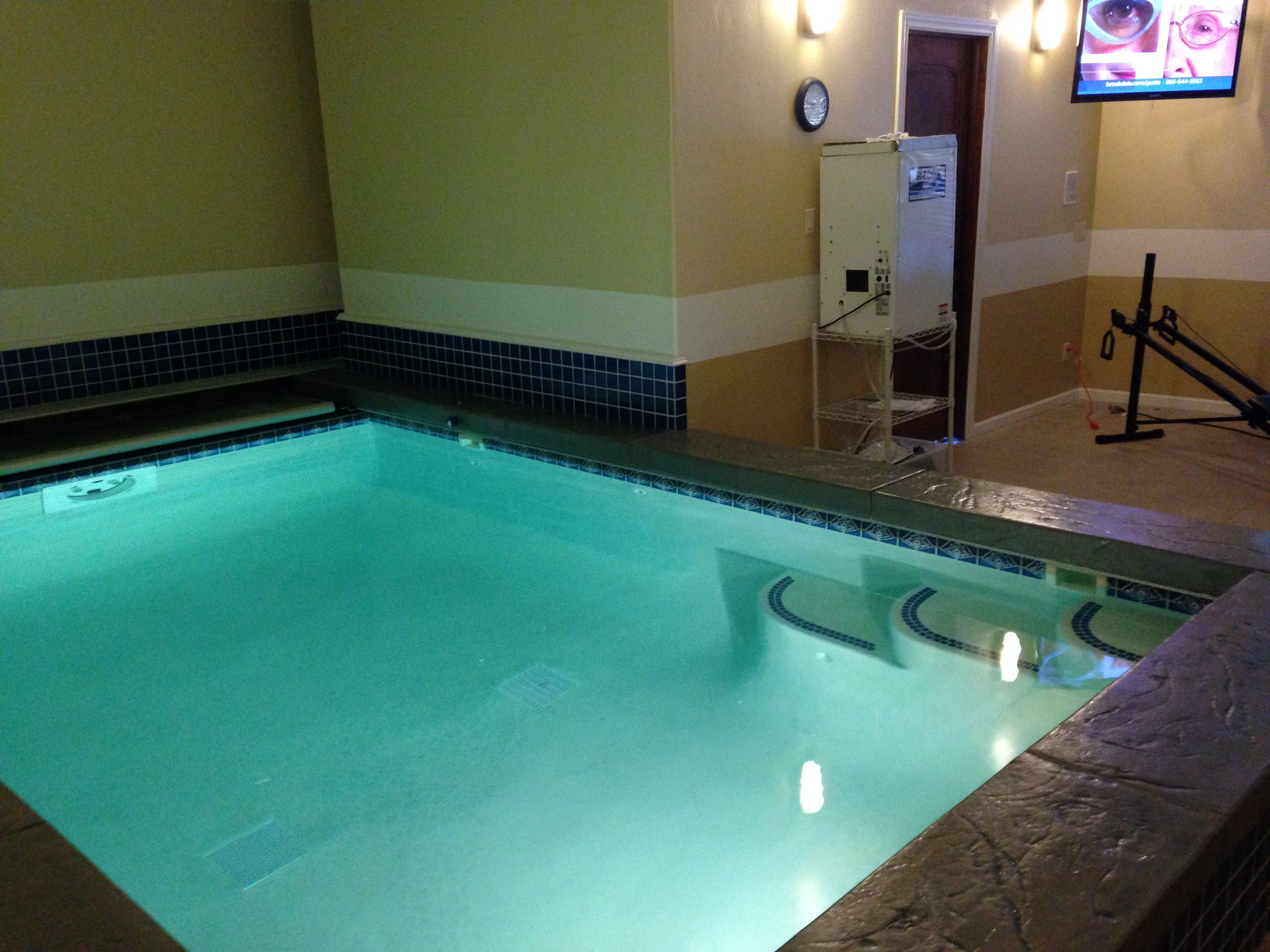 Indoor pool for year round exercise. Turn on current for continuous ...