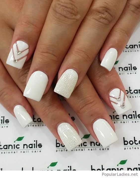 White Gel Nails With Some Glitter Nails Pinterest White Gel