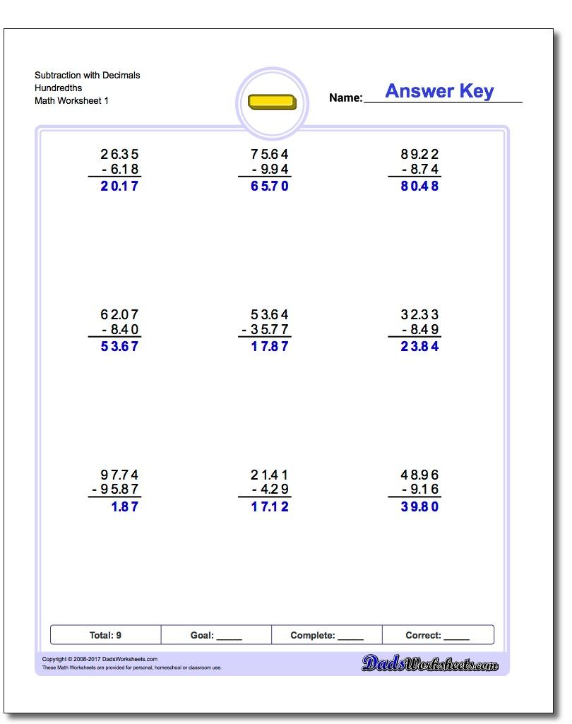 Multi Digit Subtraction Worksheets That Introduce Decimals This Section Includes Sets Of Worksheets In Subtraction Worksheets Teaching Subtraction Subtraction