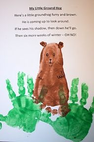 Handprint Footprint Groundhog Poem Winter For Kids Groundhog