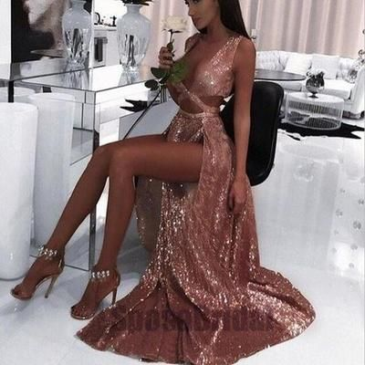 2018 Sexy Prom Dress, Hot Prom Dress,Charming Sexy Sequin Sparkly Simple Rose Gold Split Fashion Popular Prom Dresses, Evening Dress from bettybridal 3