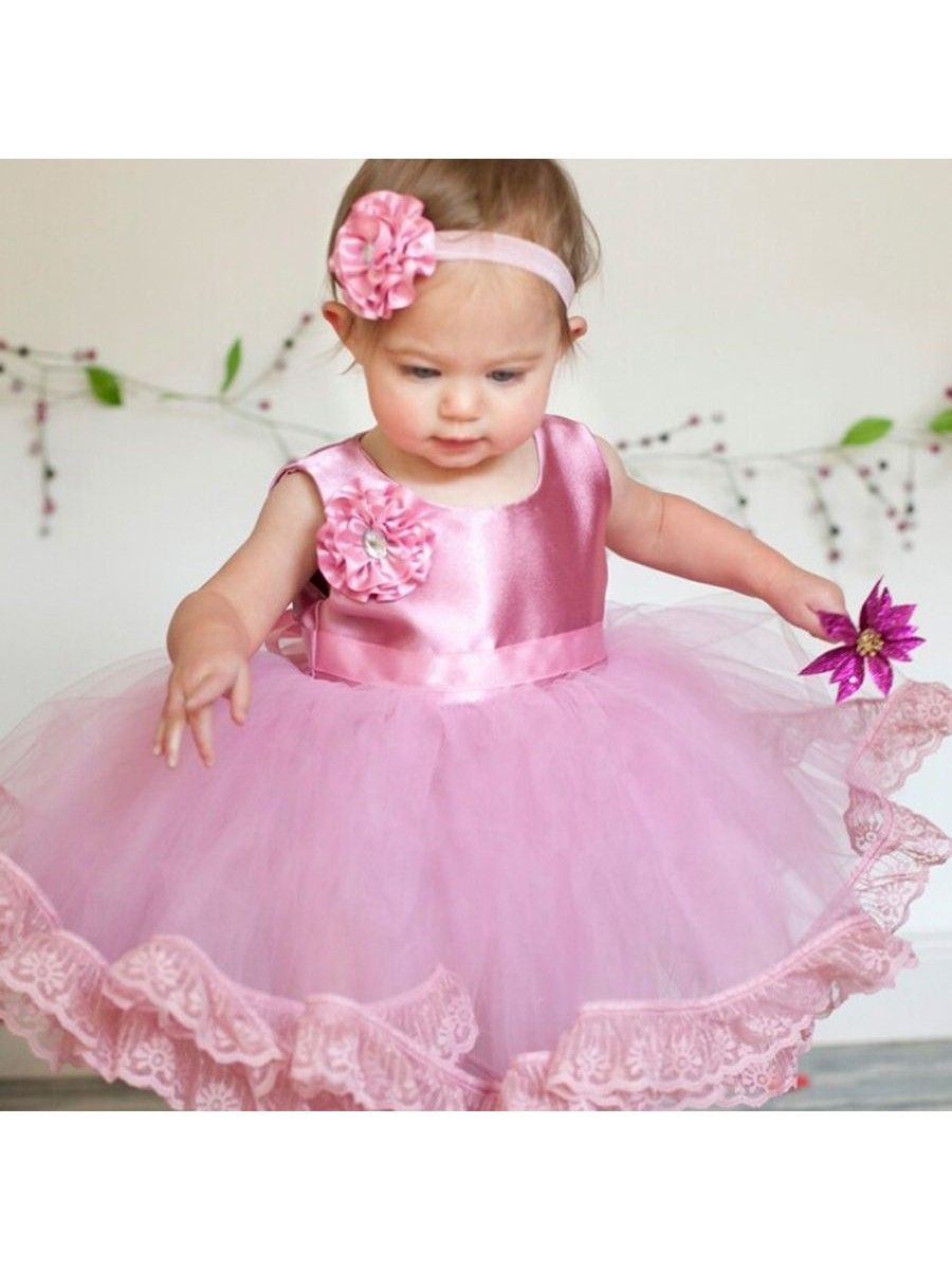 3e8de2ac9070e Baby Girl Pink Lace Tulle Satin Birthday Party Ball Gown Flower Girl Dresses  5501052