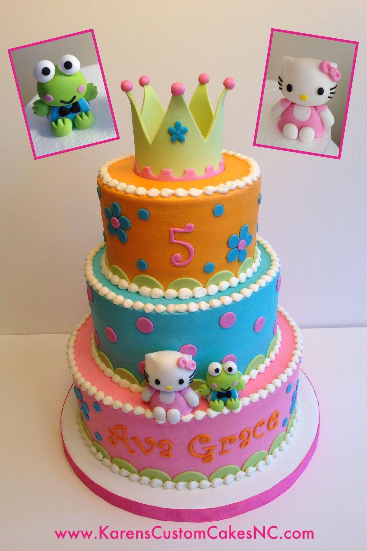 Surprising 3 Tier Colorful Hello Kitty Cake Buttercream With Fondant Decor Funny Birthday Cards Online Chimdamsfinfo