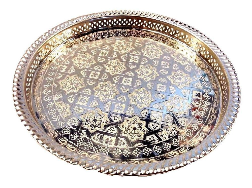 Awesome Moroccan Tea Silver Tray Engraved Arabic Pattern Design 14 5 Dailytribune Chair Design For Home Dailytribuneorg