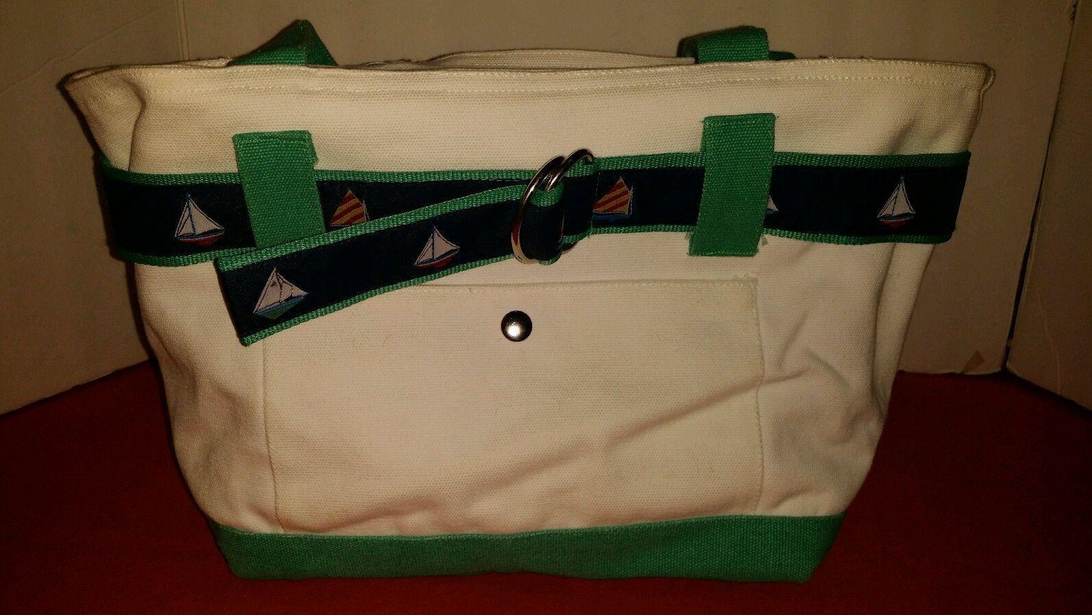 Medium White Canvas Tote Roomy Purse-Sailboat Detailing-Summer! - Handbags & Purses Priced at $11.69