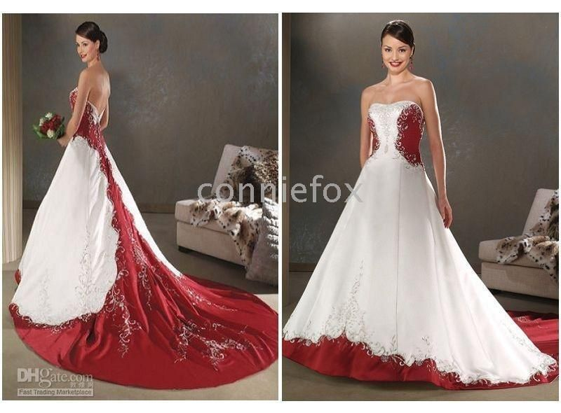 Red And White Embroidey Bride Plus Size Wedding Dresses Any Size Colors Custom Made Wedding Dresses Rental Wedding Dresses Stores From Romanticweddinggown 126 Wedding Dress Store Rental Wedding Dresses Wedding Dresses