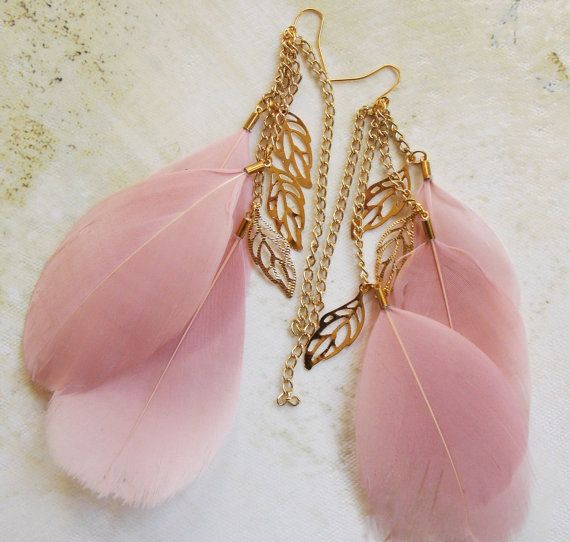 Light Champagne Pink Feather Earrings with Gold Leaf Chains Bohemian Jewelry Summer Spring Accessories for Women Teens Girls on Etsy, $12.95