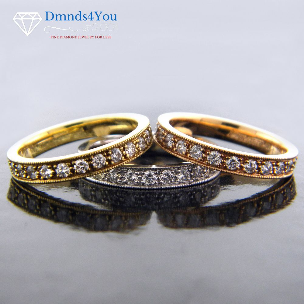 E1008, 2.55cttw, Tri-Color Rose Yellow White Eternity Ladies Band - Dmnds4You