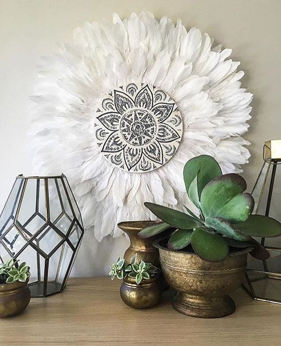 Tribal Mandala White and Grey Double Layer Feathers Round ...