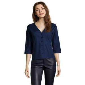 Chemise, coupe droite   bleu marine. Agnes B