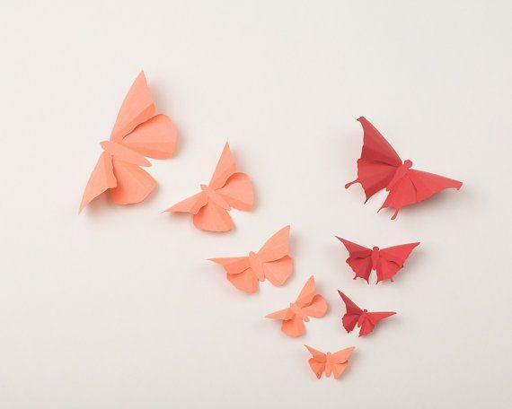 3D Wall Butterflies: Butterfly Wall Art for Nursery, Wedding or Home Decor - Flight of 20 in Coral & Terracotta. $40.00, via Etsy.