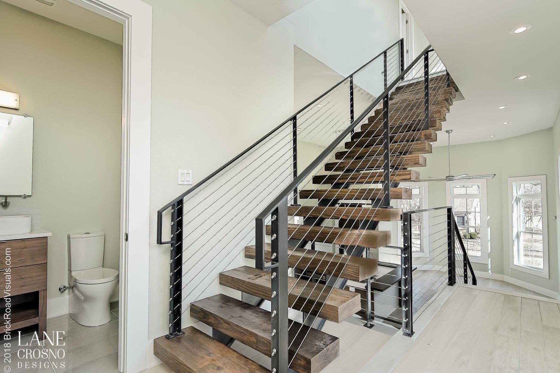 Floating Stairs Handhewn Wood Stair Treads Light Wood Look Tile