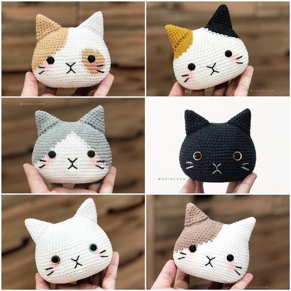 Photo of 4 Cat Head Crochet PDF pattern, instant download