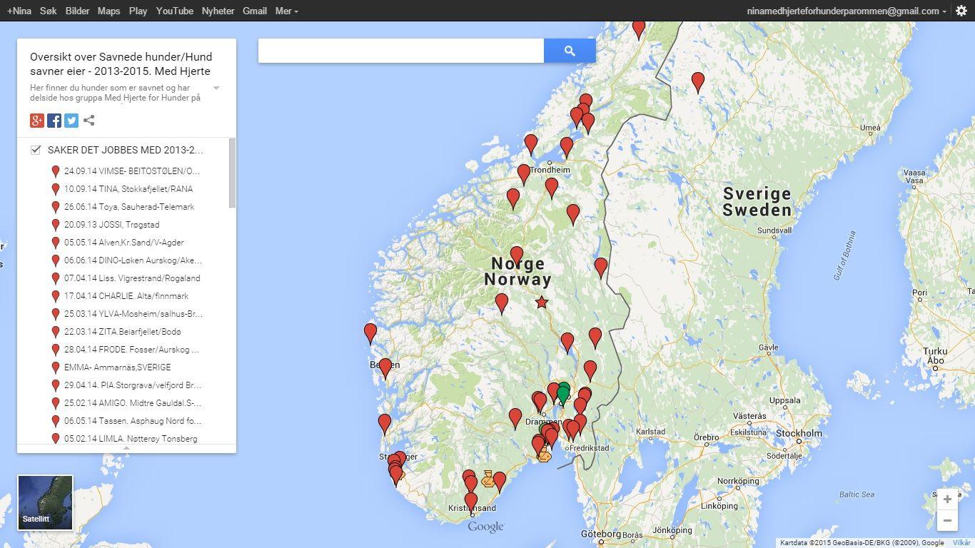 kart google norge Aktivt kart som viser savnede hunder i Norge. https://.google  kart google norge