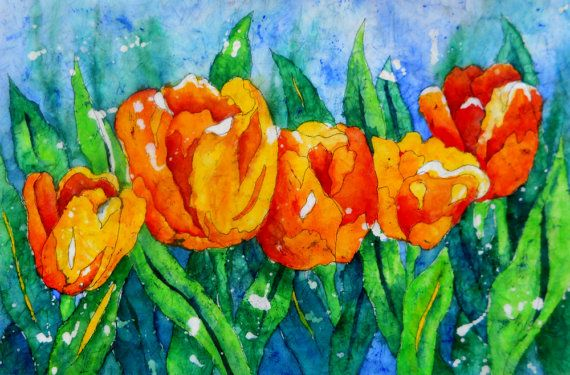 Orange Yellow Tulips Watercolor Batik by Colorado Artist Martha Kisling