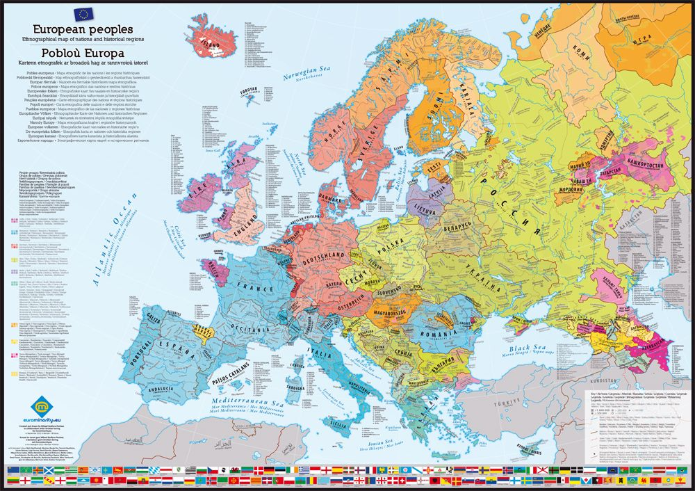 Poster Cartes Des Peuples D Europe Map Of European Peoples