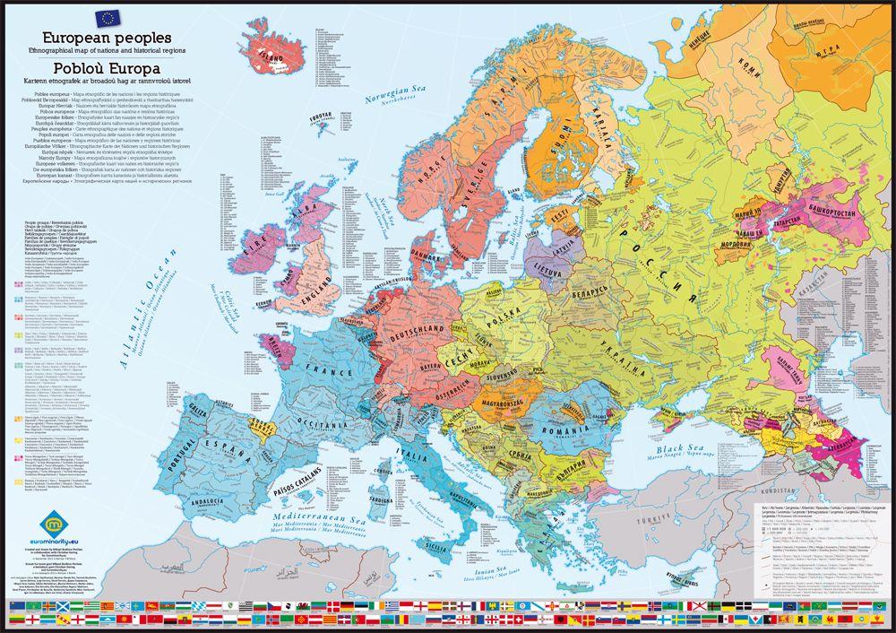 Poster cartes des peuples du0027Europe   Map of European peoples Maps - new unique world map poster