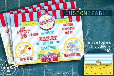 Instant Download Circus Invitation Printables Circus Party