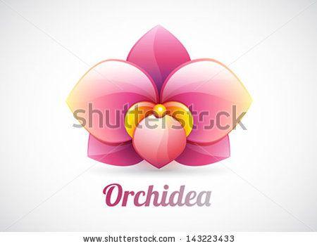 Flower Logo Pink Orchid Flower Shape Vector Icon Isolated On White Flower Logo Pink Orchids Flower Shape
