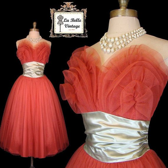 Vintage 40s 50s NAT CANTOR Ruched Bust Strapless Pinup Prom Party Tulle Wedding Dress