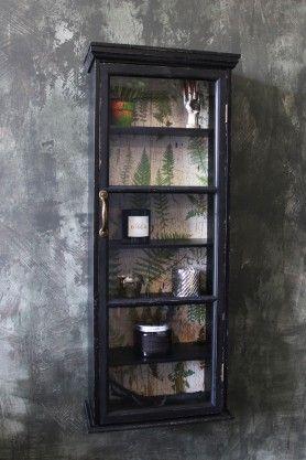 Tall Slim Distressed Black Wall Cabinet With Botanical Lining Paredes Negras Armario De Pared Adornos Para Pared